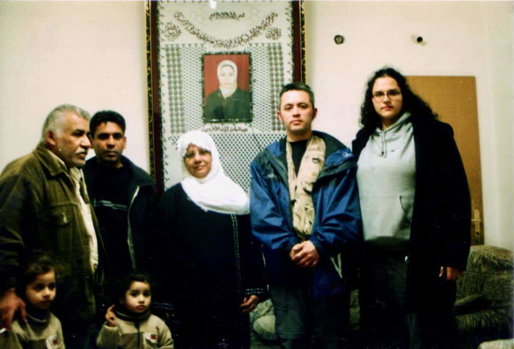 Saldaña (right), Mazone (far right) with Ayat's al-Akhras family